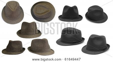 Set of brown and black hats