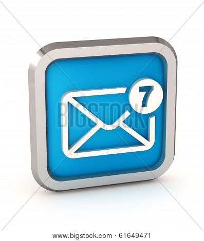 Blue Mail Icon With Unread Messages On A White Background