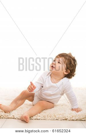Toddler Boy Pointing Up To Copy