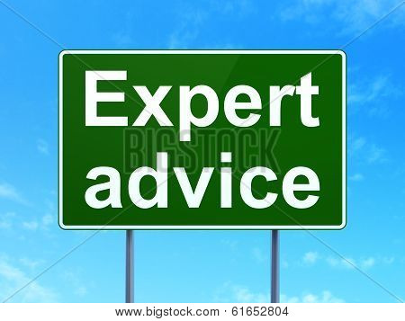 Law concept: Expert Advice on road sign background