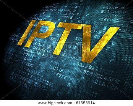 SEO web development concept: IPTV on digital background