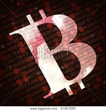 Bit Coin Currency Symbol With Numbers And Letters On Background