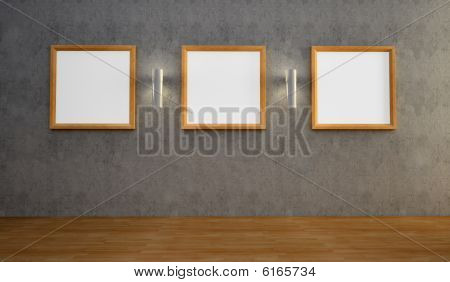 Interior with three empty frames on a wall