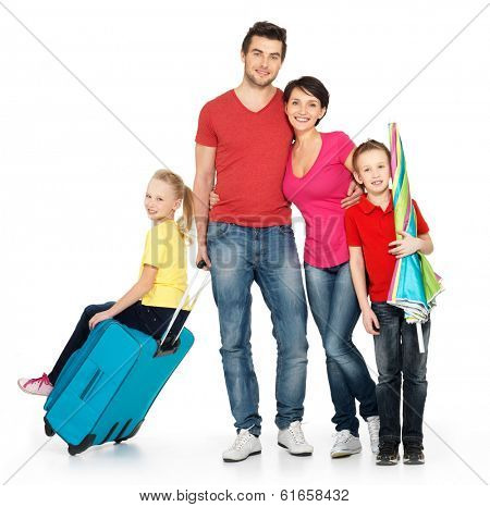 Happy family with  suitcase  at studio isolated on white background