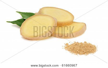 Sliced And Ground Ginger (isolated)