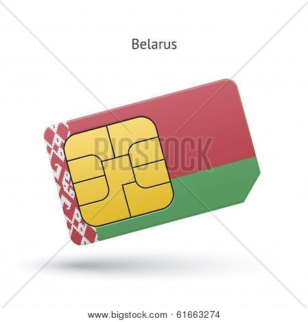 Belarus mobile phone sim card with flag.