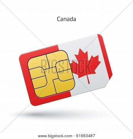 Canada mobile phone sim card with flag.