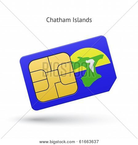 Chatham Islands mobile phone sim card with flag.