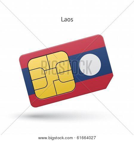 Laos mobile phone sim card with flag.