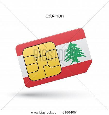 Lebanon mobile phone sim card with flag.