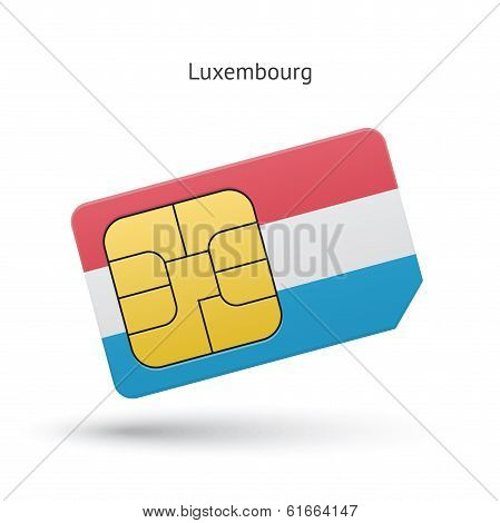 Luxembourg mobile phone sim card with flag.