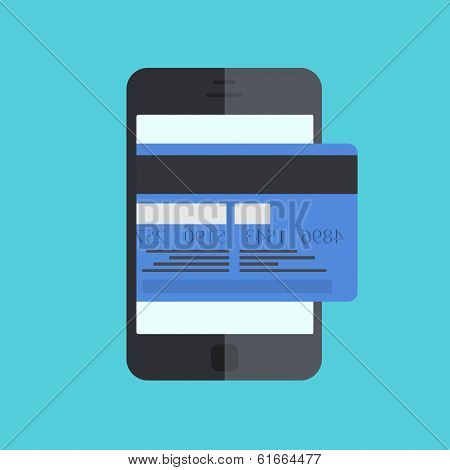 vector smartphone with mobile payment on blue