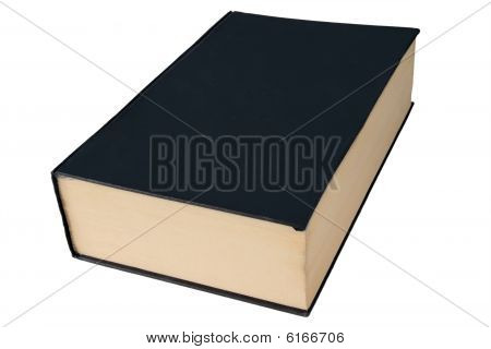 Old Black Large Hardback Book Isolated On A White Background.