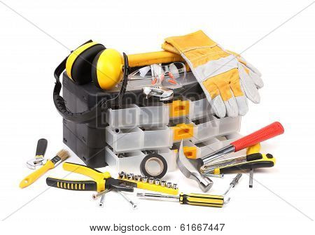 Plastic workbox with assorted tools.