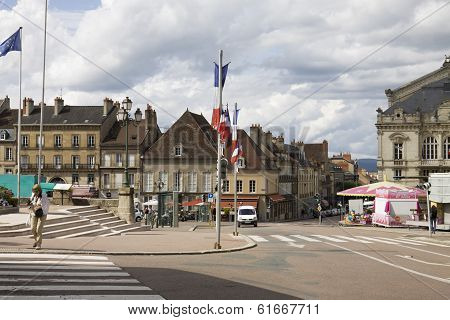 The Square In The Historical Center Of Autun. Burgundy, France