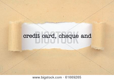 Credit Card, Cheque