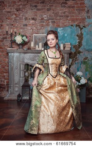 Beautiful Woman In Medieval Dress Doing Curtsey