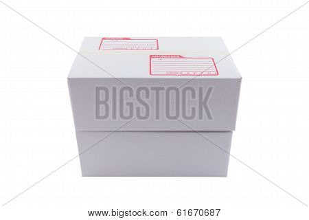 Isolated Of The White Box For Packaging With Shipping From Post Office