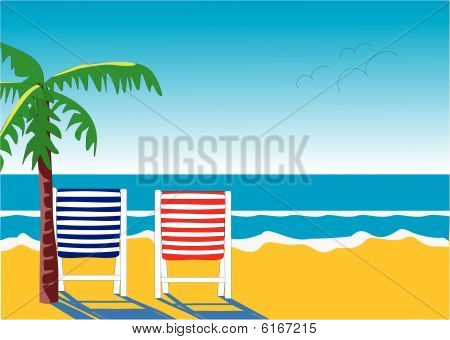 Chairs and palm trees