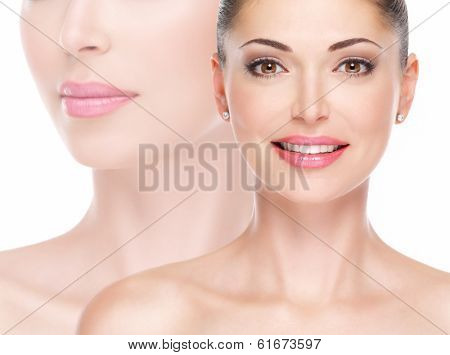 Model face of beautiful smiling woman looing at camera