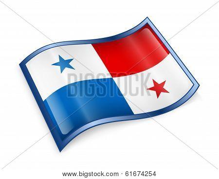 Panama Flag Icon, Isolated On White Background.