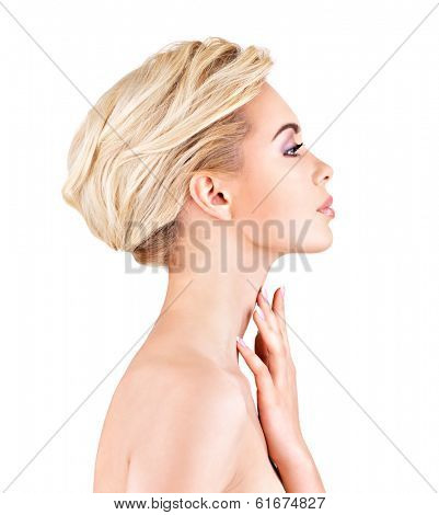 Profile face of  young  woman touching neck- isolated on white background