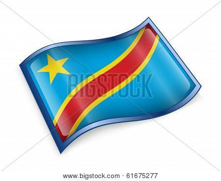 Congo Flag Icon.