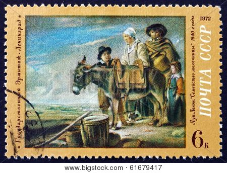 Postage Stamp Russia 1972 Milkmaid's Family, By Louis Le Nain