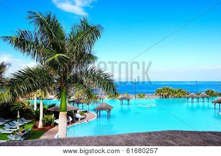 Swimming Pool And Beach At Luxury Hotel, Tenerife Island, Spain