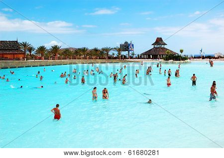 Tenerife Island, Spain - May 22: The Tourists Enjoying Artificial Wave Water Attractions In Siam Wat