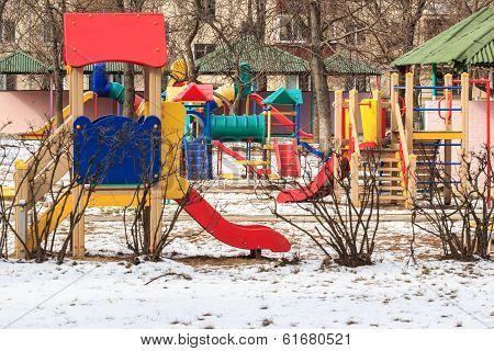 outdoor kids playground during winter