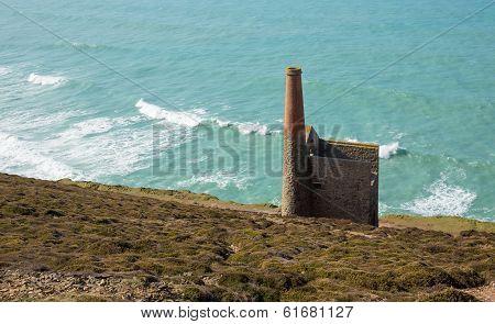 Ruins of an English tin mine Wheal Coates near St Agnes Head in Cornwall UK