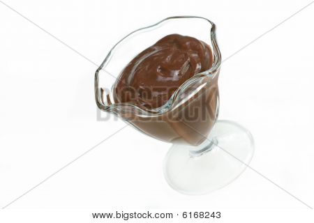 Chocolate Pudding On White With Copy Space.