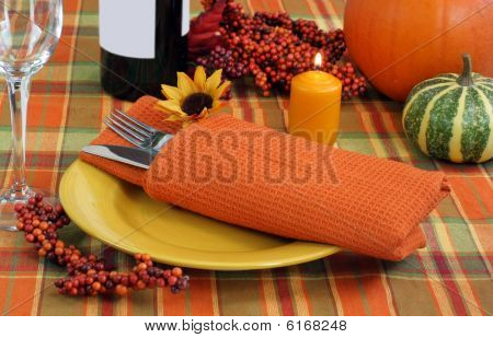 Festive Evening Table Setting For Autumn
