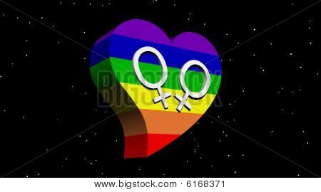 Lesbian couple in rainbow color heart in night with stars