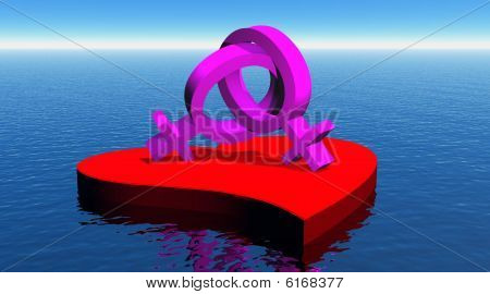 Lesbian couple on red heart floating on the ocean
