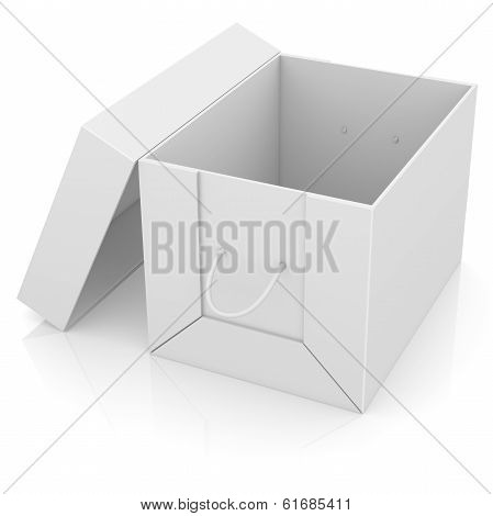Opened white cardboard package box