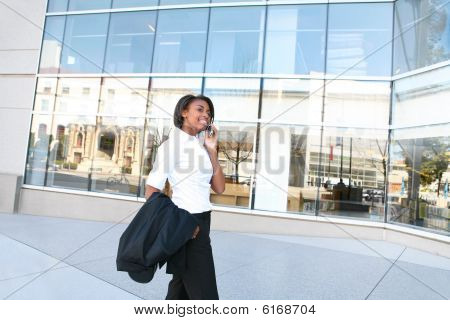 African Woman Student At Library