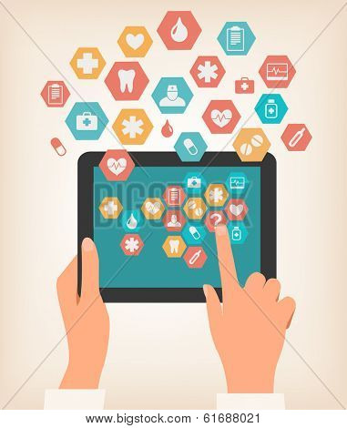 Two hands touching screen of a tablet with medical icons. Vector.