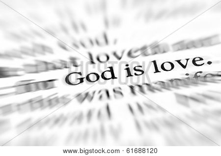 Detail closeup zoom God is love scripture in bible verse