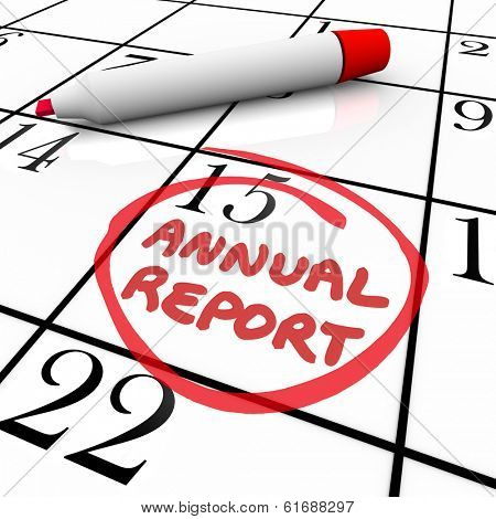 Annual Report Due Date Calendar Business Filing Release Day