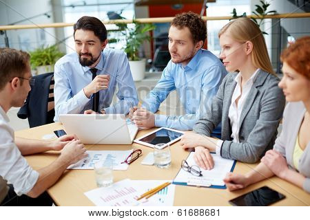 Business team making plans on strategy viewed below