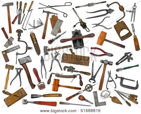 vintage collectible tools mix collage over white