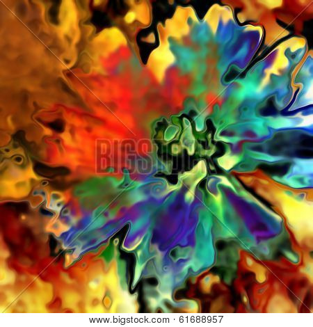 art floral vintage blurred background with red and blue aster