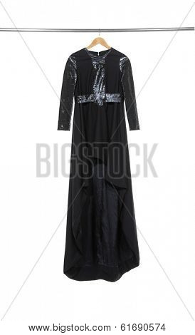 evening gown on female isolated hanging on wooden hangers