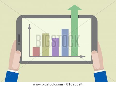 minimalistic illustration of a tablet computer with business growth chart going out of the screen, eps10 vector
