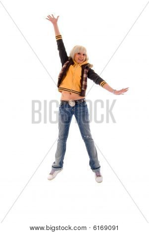 Jumping Jeans Blonde Girl. Isolated On White Background.