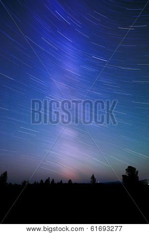 starry night sky in high mountain