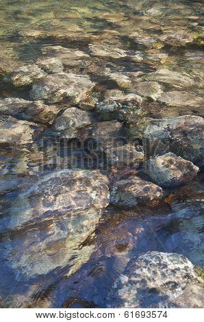 Textured background of rocks under water