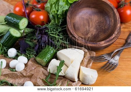 Background From Mixed Vegetables With Wood Bowl